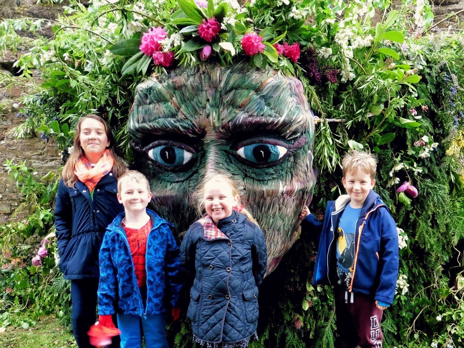 green man, festival, mount edgcumbe, plymouth, cornwall, flowers, spring, face, park, estate,