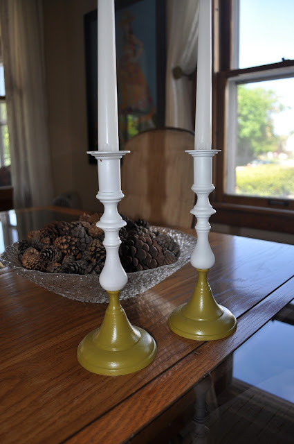 brass candlestick, spray paint, rustoleum, dining room decor, color block