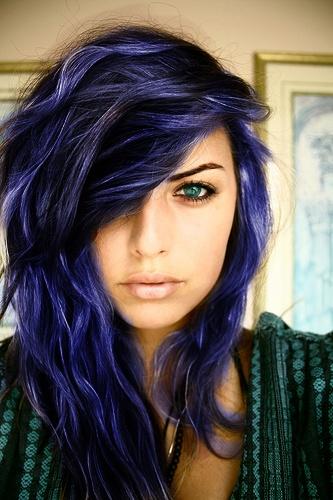 girl with black hair blue streaks