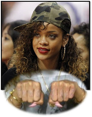 Rihanna New Knuckles Tattoo