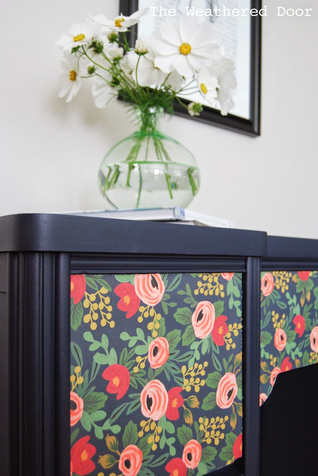 Awe Inspiring Adding Paper To Furniture A Navy Desk With Flower Patterned Interior Design Ideas Truasarkarijobsexamcom