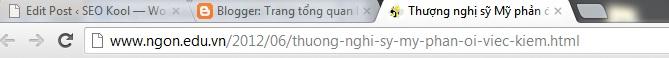 URL hiển thị không đầy đủ và rõ ràng