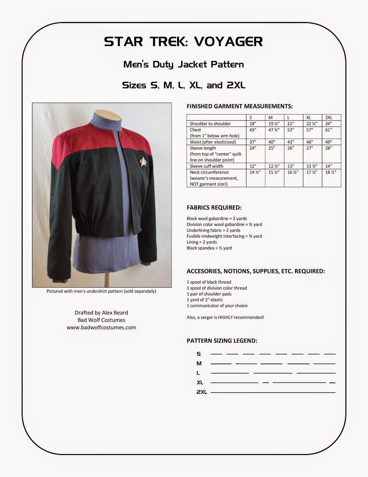Star Trek: Voyager Men's Duty Jacket Sewing Pattern