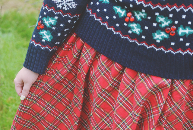 Tartan skirt Christmas cardigan
