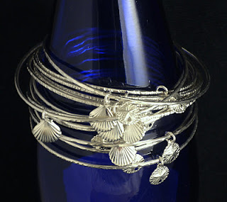 Scarborough Seashells Sterling Silver Bangle available on etsy