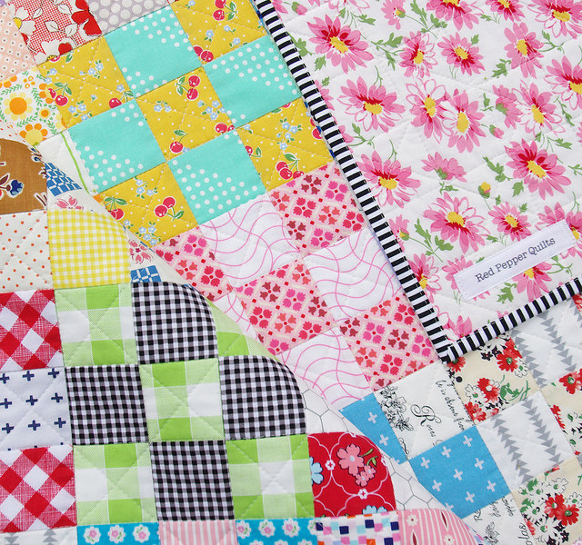 Nine Patch Checkerboard Quilt - binding | Red Pepper Quilts