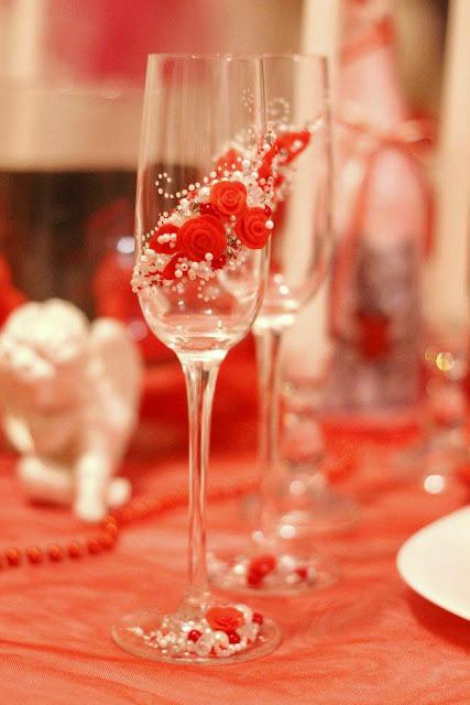 Весільні фужери, декоровані червоним - Тернопіль, Україна