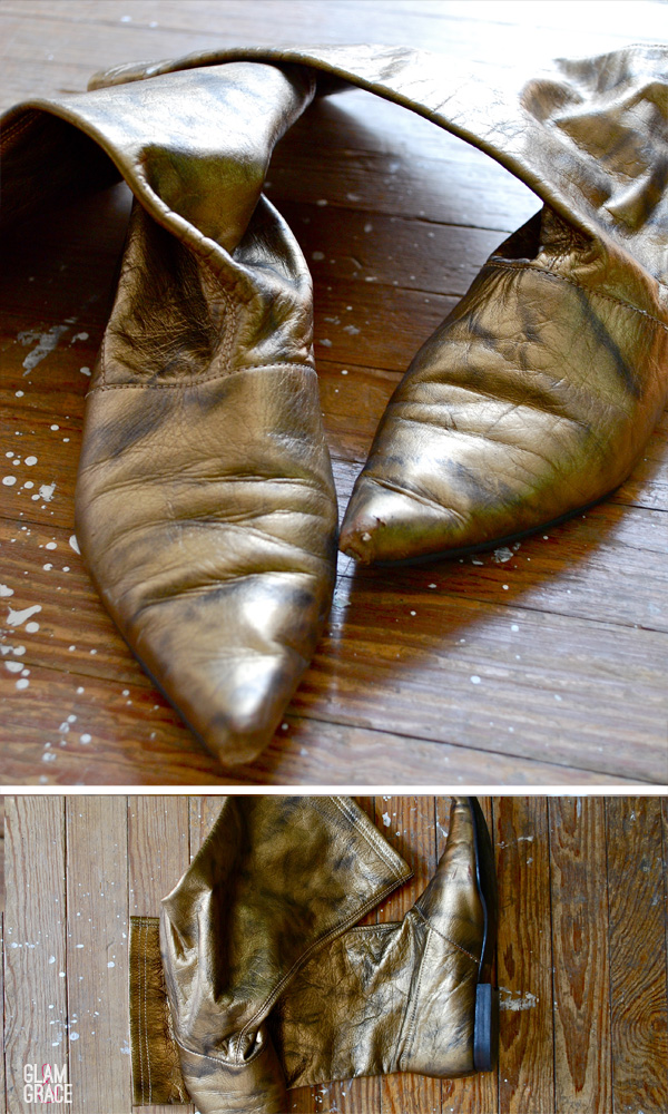 outdated gold boots