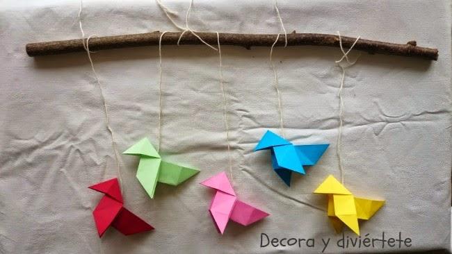 DIY, manualidades , móvil infantil , origami , pajarita papel