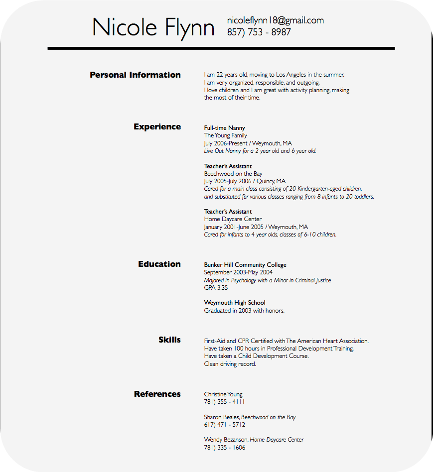 resume cv make nanny resume autobiography samples are available ly also get sample resume which you can use as a resume instancefor your letter of