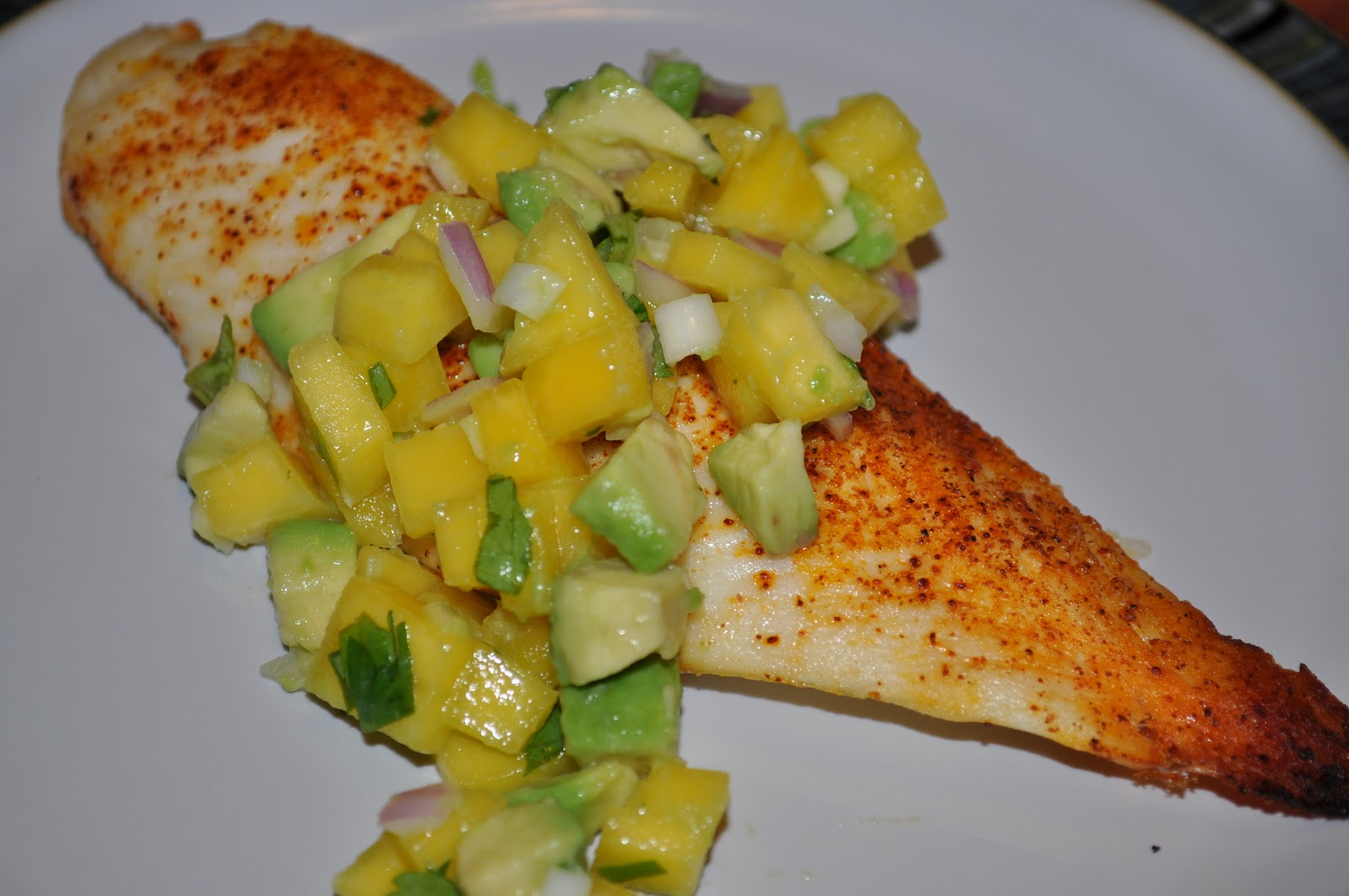 This Recycled Life: Baked Tilapia with Mango-Avocado Salsa