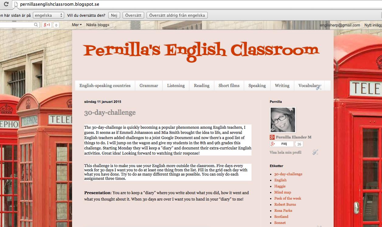 Besök även Pernilla's English Classroom