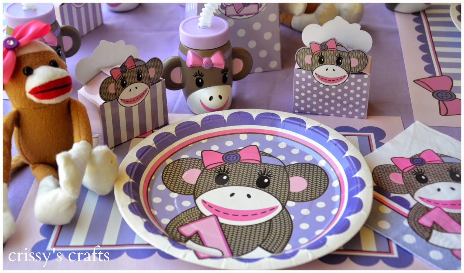 Crissy\'s Crafts: 1st Birthday Miss Sock Monkey Party