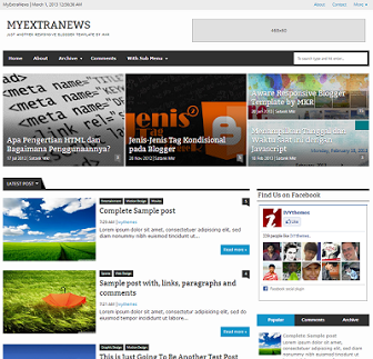 My-Extra-News Responsive Blogger Template