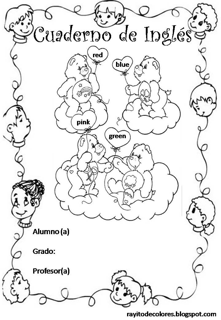 Carátula para cuaderno de Inglés