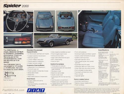 1979 Fiat Spider 2000 Specs