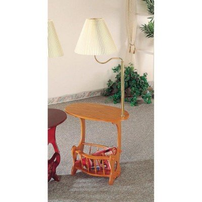 rack end table with built in lamp oak side table with attached lamp. Black Bedroom Furniture Sets. Home Design Ideas