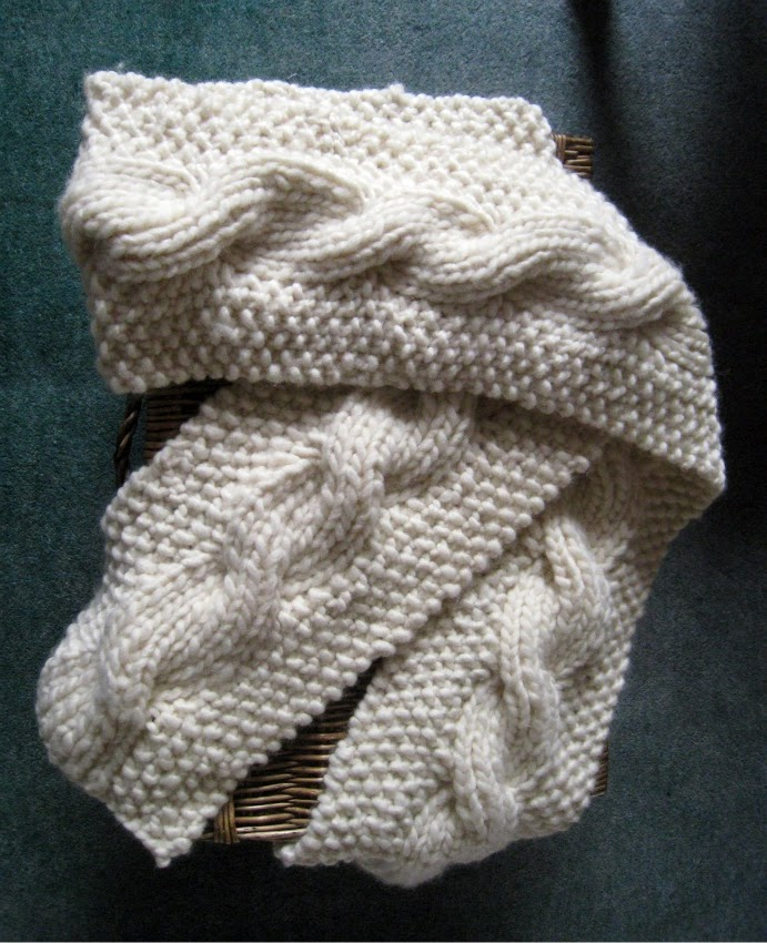 Knitting Pattern For Reversible Scarf : RosMadeMe: The Snuggly Reversible Cable Scarf - Christmas ...