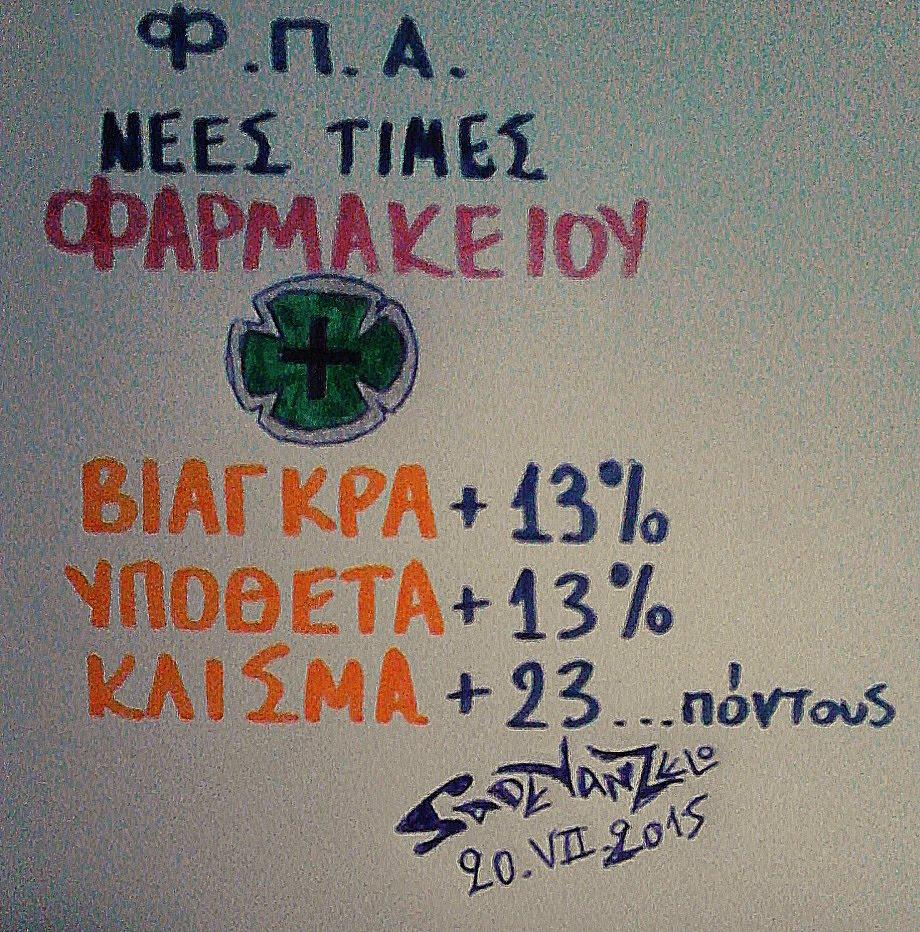 νέες τιμές φαρμακειων, με ΦΠΑ