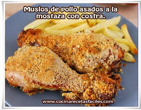 Recetas de pollo, muslos de pollo asados a la  mostaza con costra.