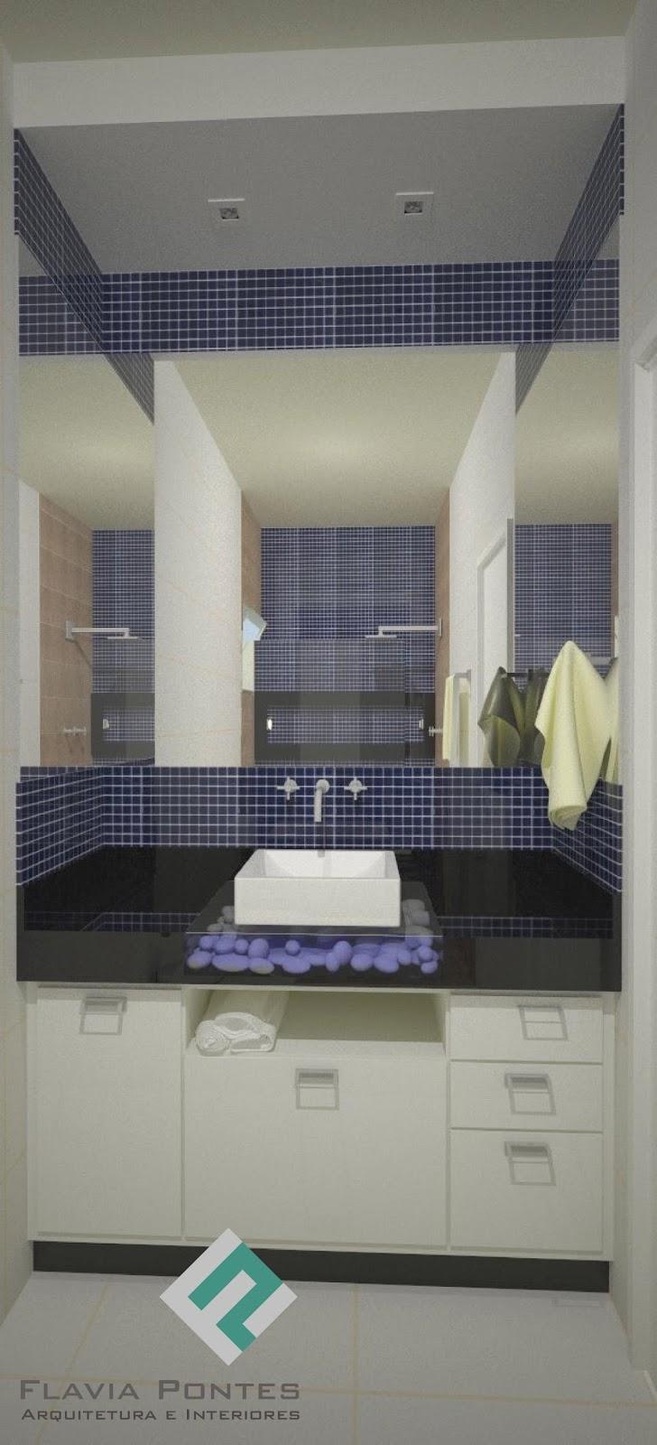 Flavia Pontes Arquitetura -> Banheiro Com Pastilha Azul Escuro