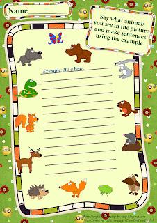forest animals making simple sentences worksheet