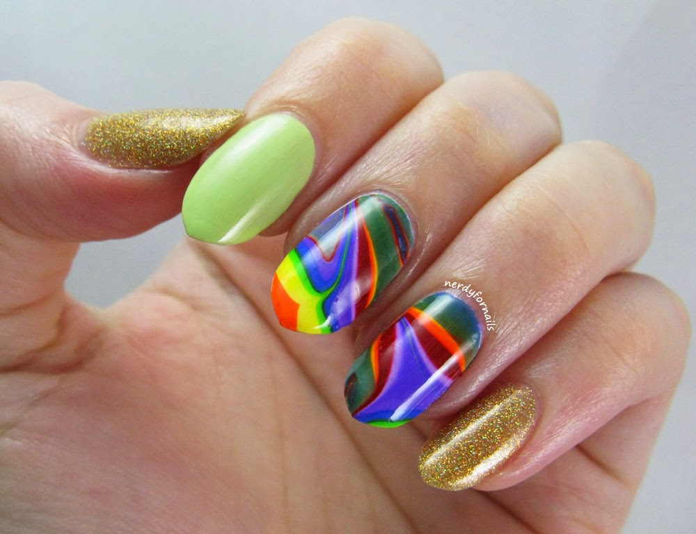 St Patrick's Day Nails- Rainbow Water Marble Orly Bling and Green