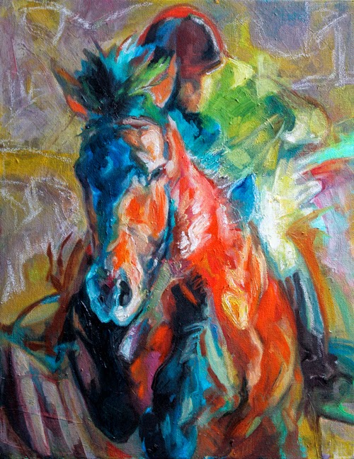 EQUINE artwork horse art oil painting canvas hunter jumper equestrian Flight Plan Joanna Zeller Quentin Moose Pants Studio 2014
