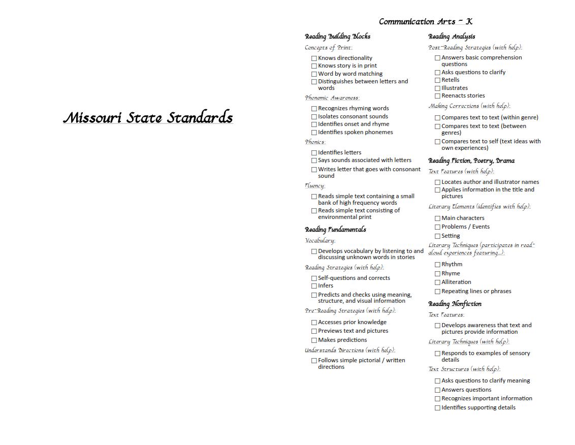 Version of missouri state teaching standards for kindergarten