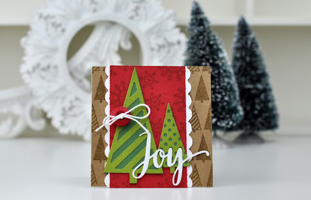Joy stamped and die cut card by Jen Gallacher for www.echoparkpaper.com.