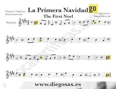 Tubepartitura La Primera Navidad partitura para Trompeta Villancico popular de Navidad