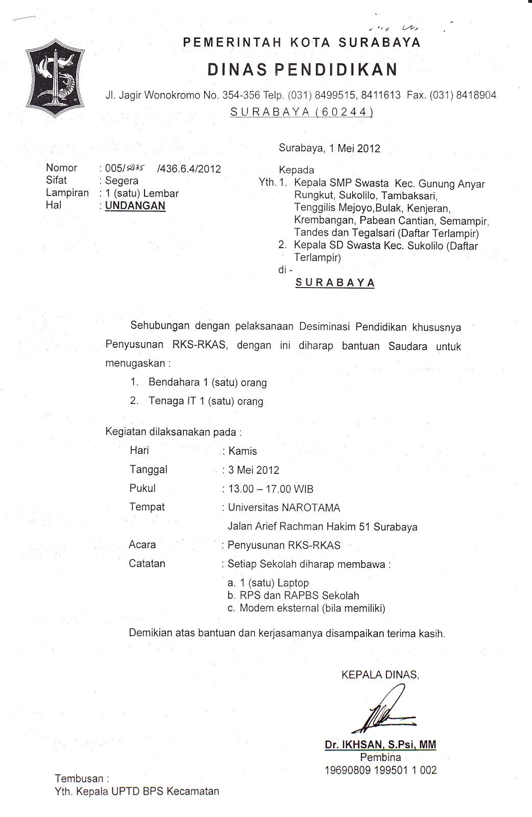 Ditujukan Kepada Kepala Sekolah SMP Swasta Kec. Krembangan, ( Nama
