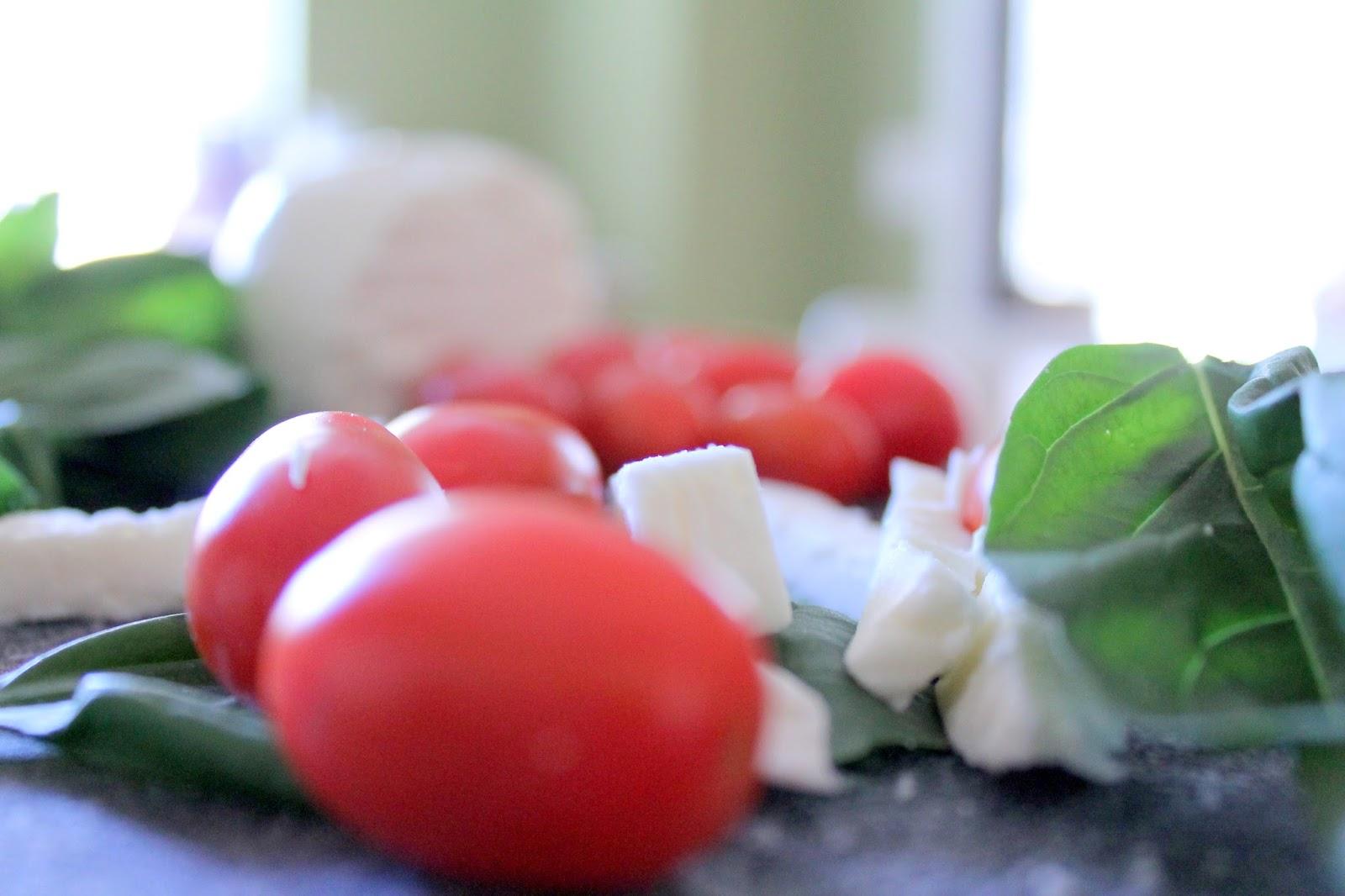 Caprese Pasta: grape tomatoes, basil & fresh mozzarella