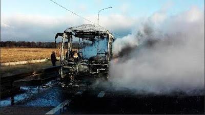 На Ярославском шоссе сгорел пассажирский автобус