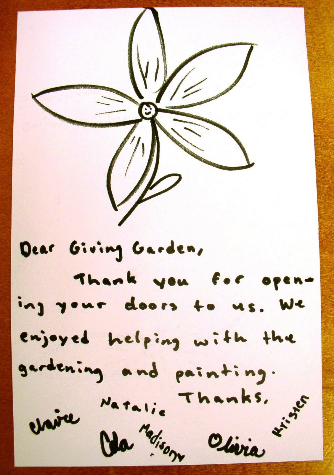 rcs giving garden thank you card from the summer stretch students thank you card from the summer stretch students