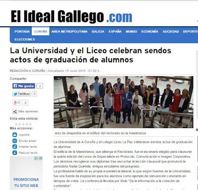 Protocolo, Comunicación e Imagen Corporativa. Universidade da Coruña. El Ideal Gallego