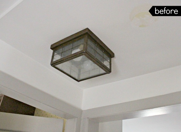 antique farmhouse second floor ceiling light before