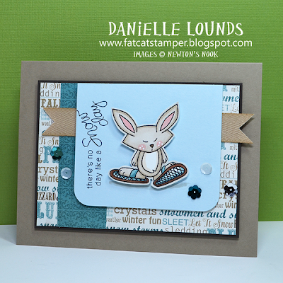 Snow shoe Bunny card by Danielle Lounds for Newton's Nook Designs