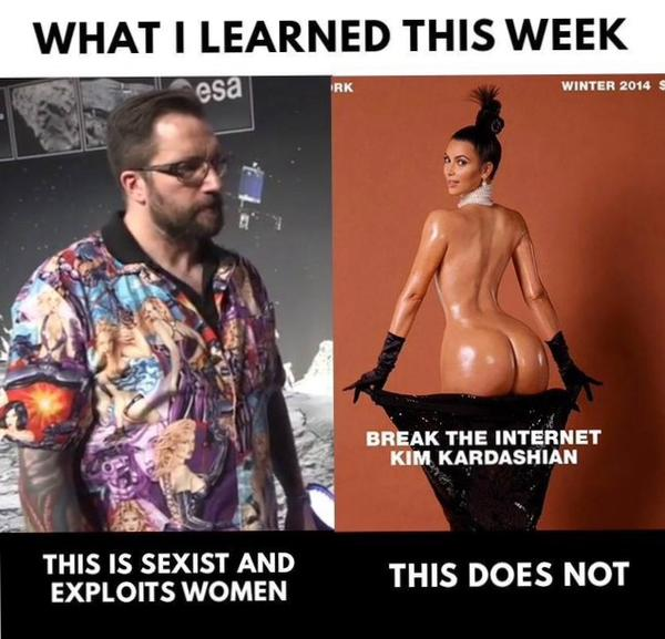 Meme del científico de la camisa y el cometa frente a la famosa foto de Kim Kardashian. El texto se pregunta qué es más sexista en realidad