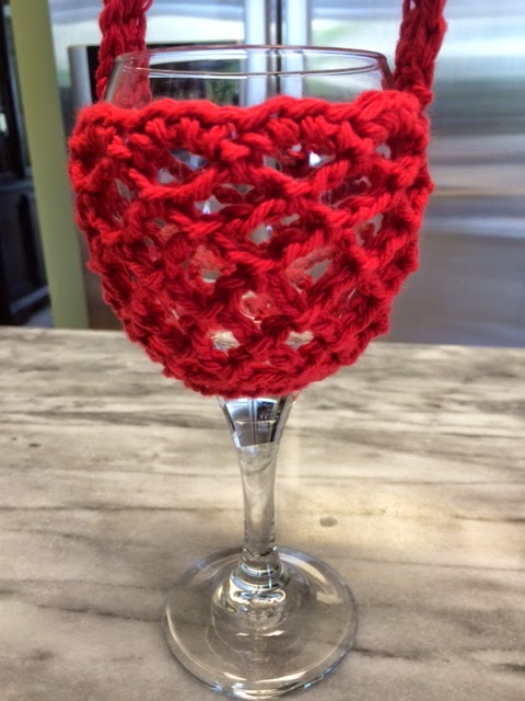 Free Pattern Crochet Wine Glass Holder : Hooked by Heidi: Crochet Wine Glass Holder with Neck Strap