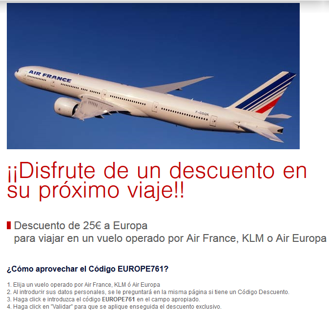 Codigo descuento Air France