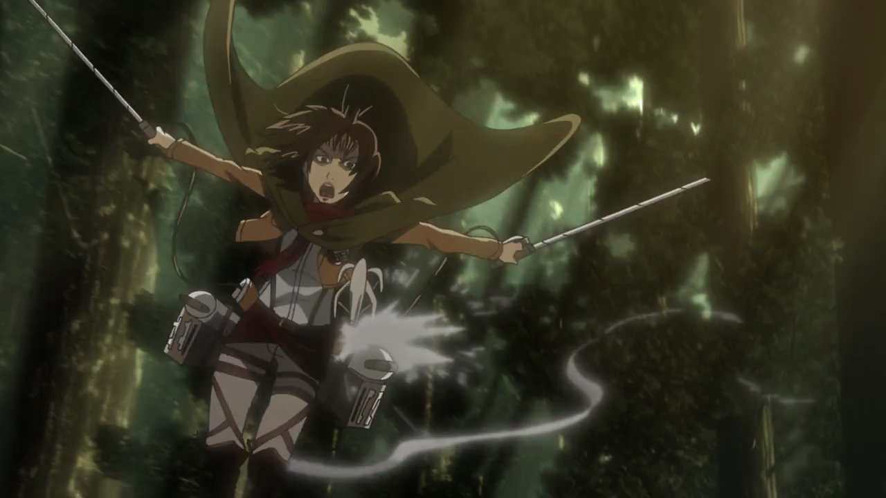 Mikasa flies through the air with her 3D Gear