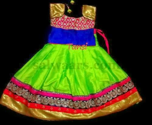 Parrot Green Kundan Skirt