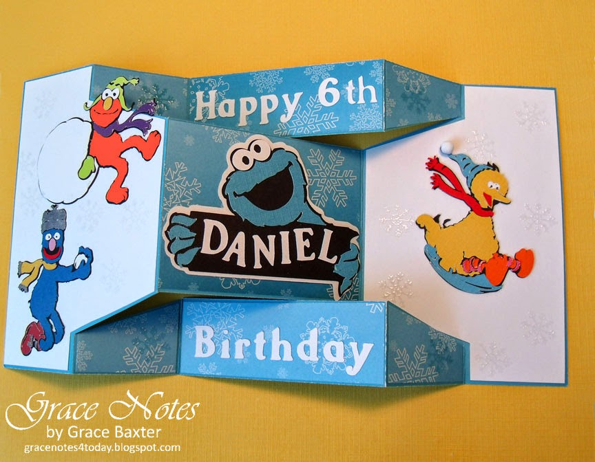 Sesame St. Winter B-day shutter card, open
