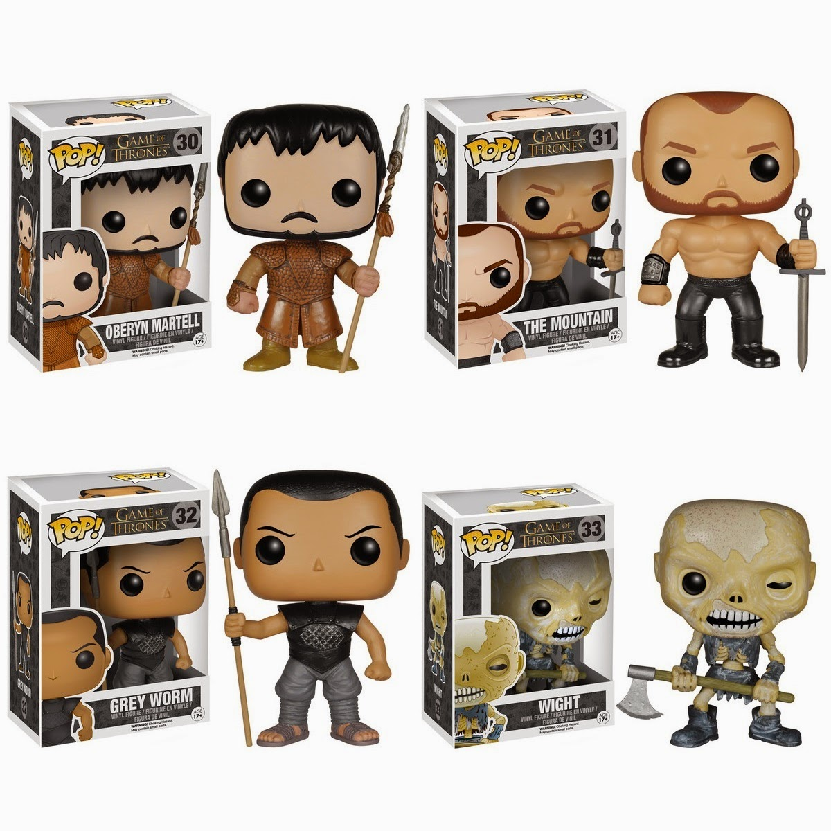Game of Thrones Pop! Series 5 by Funko - Oberyn Martell, The Mountain, Grey Worm of the Unsullied & a Wight
