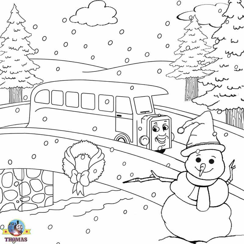 Christmas coloring pages for kids snowmen Thomas train and friends title=