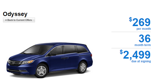 Honda Odyssey Offer 2014 Odyssey 6 Speed Automatic LX Featured Special Lease