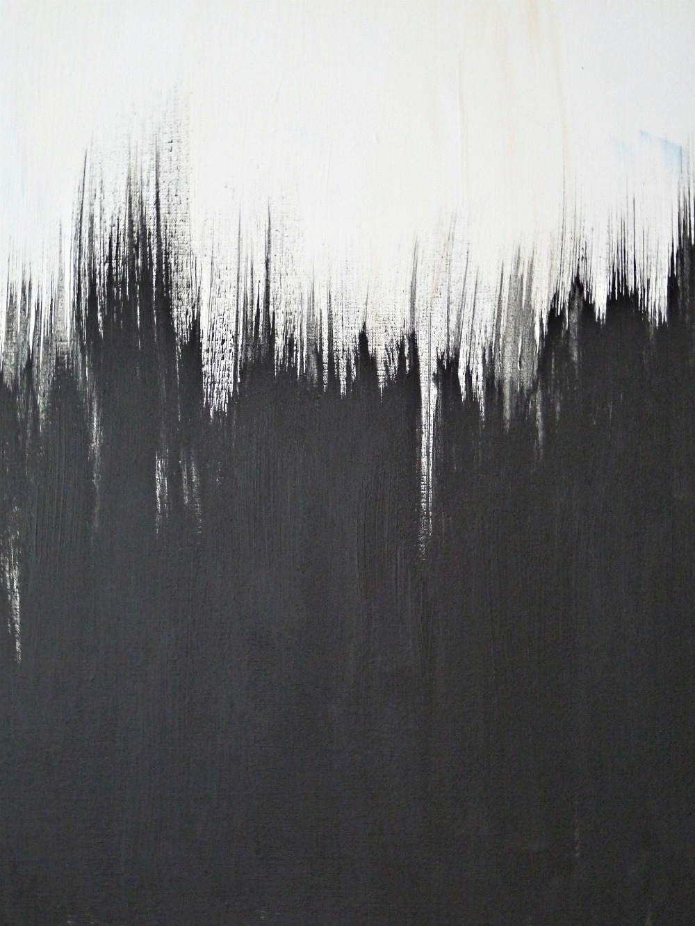 Simple but striking black white diy abstract painting - Painting a black wall white ...