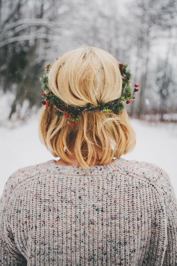 corona flores navidad pelo