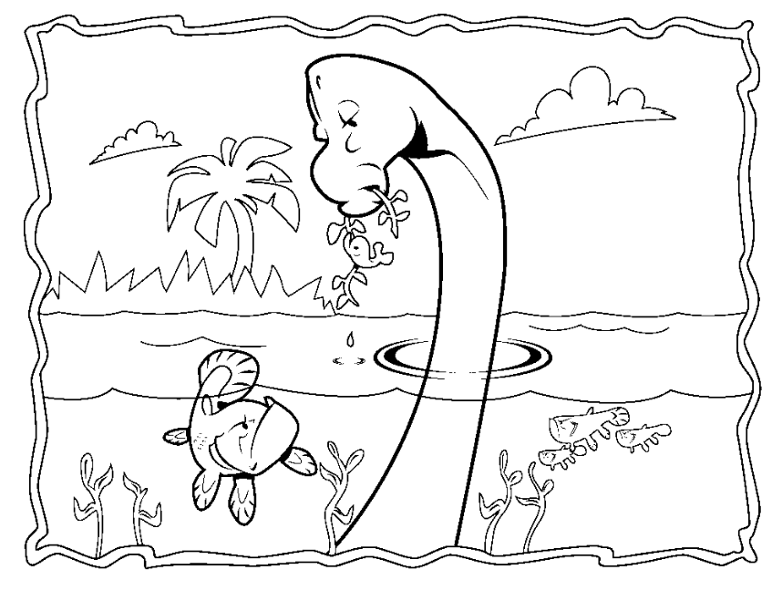 Dinosaurios para colorear: Dinosaurios en el agua